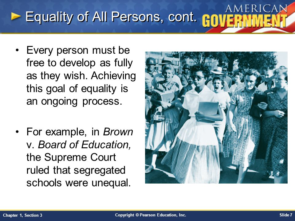 Equality of All Persons, cont.