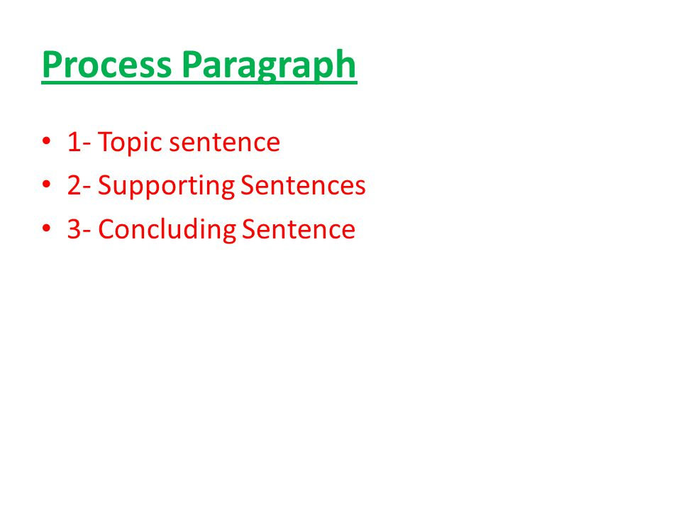Process Paragraph 1- Topic sentence 2- Supporting Sentences