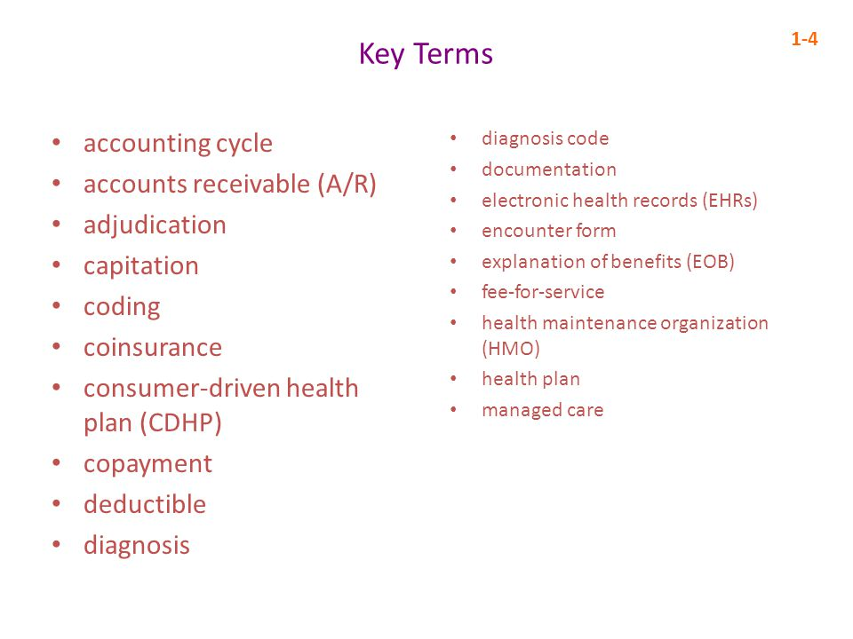 Key Terms accounting cycle accounts receivable (A/R) adjudication