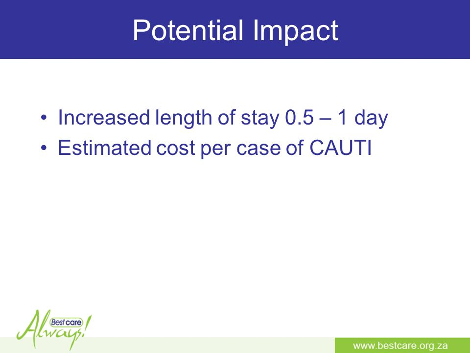 Potential Impact Increased length of stay 0.5 – 1 day