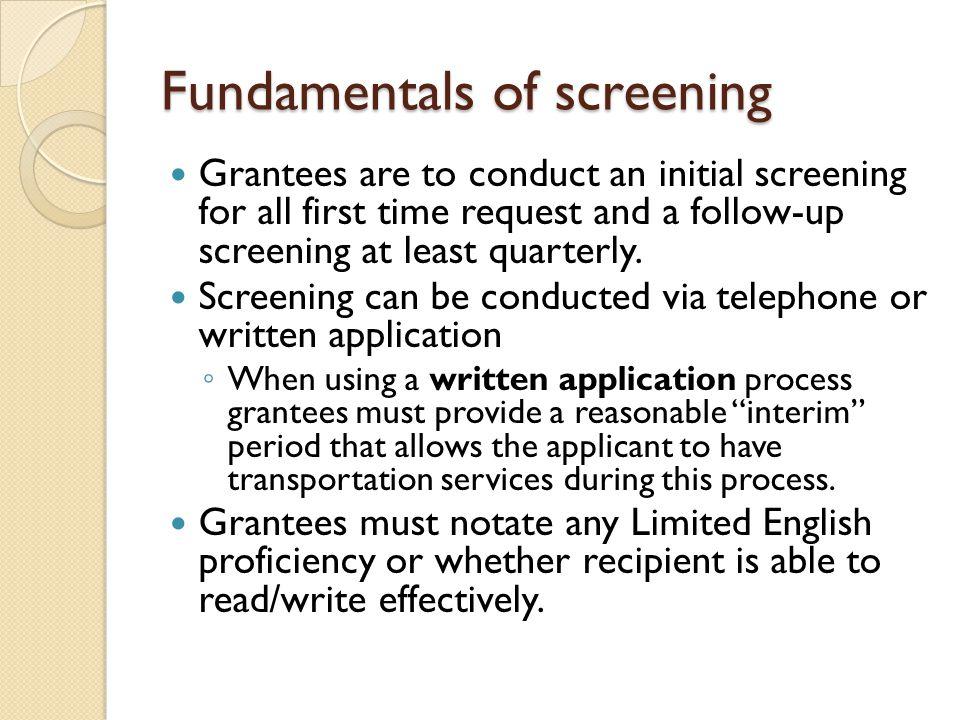 Fundamentals of screening