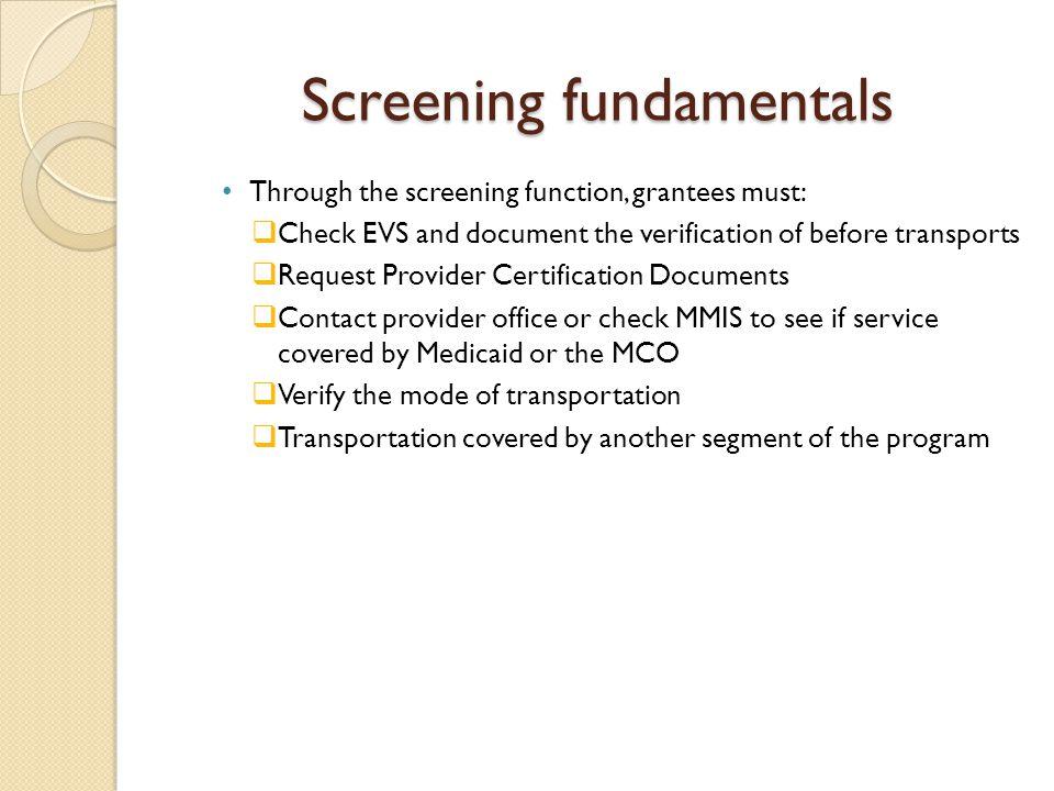 Screening fundamentals