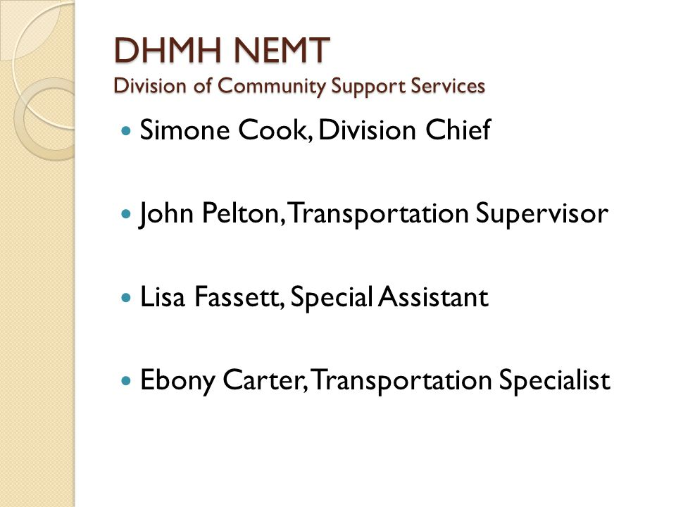 DHMH NEMT Division of Community Support Services