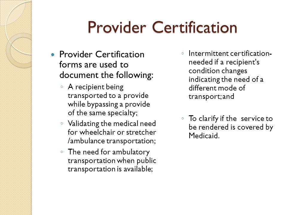 Provider Certification
