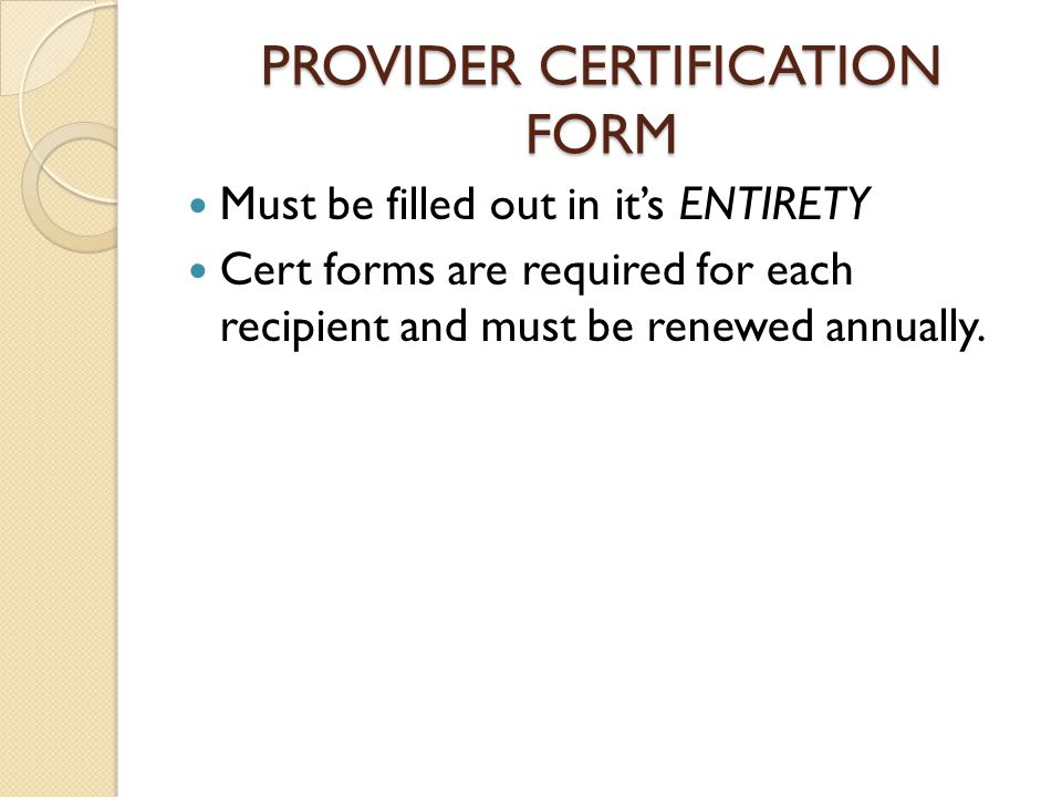 PROVIDER CERTIFICATION FORM