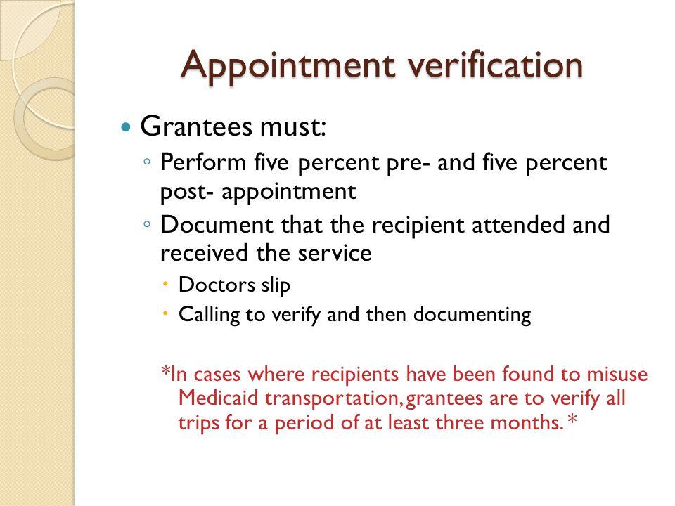 Appointment verification