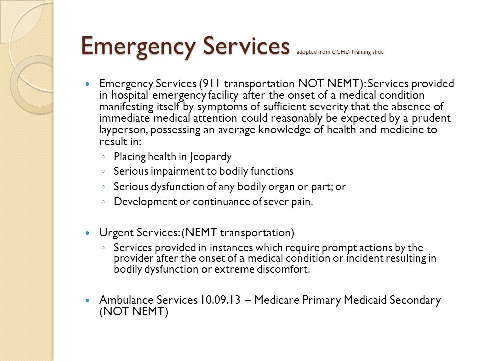 Emergency Services adopted from CCHD Training slide