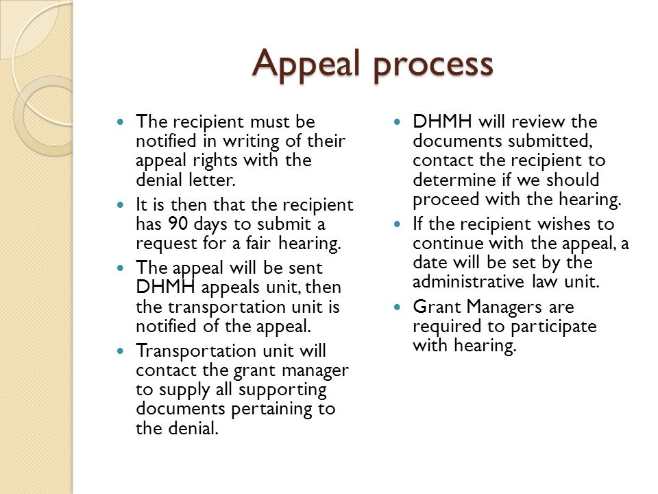 Appeal process The recipient must be notified in writing of their appeal rights with the denial letter.