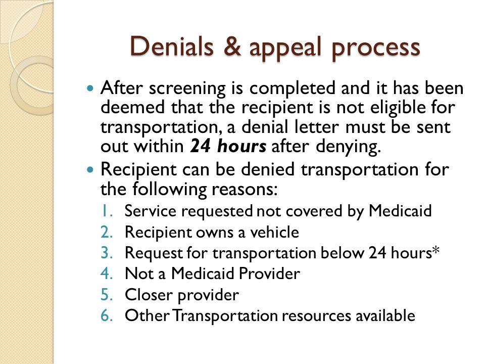 Denials & appeal process