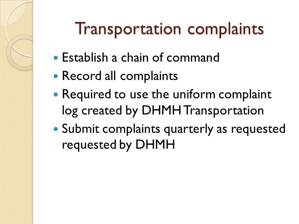 Transportation complaints