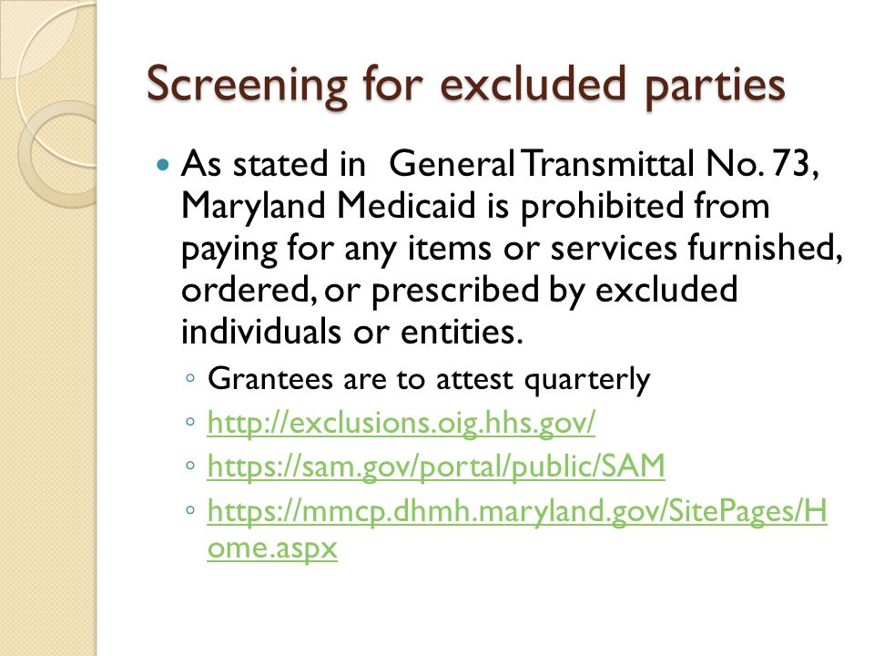 Screening for excluded parties