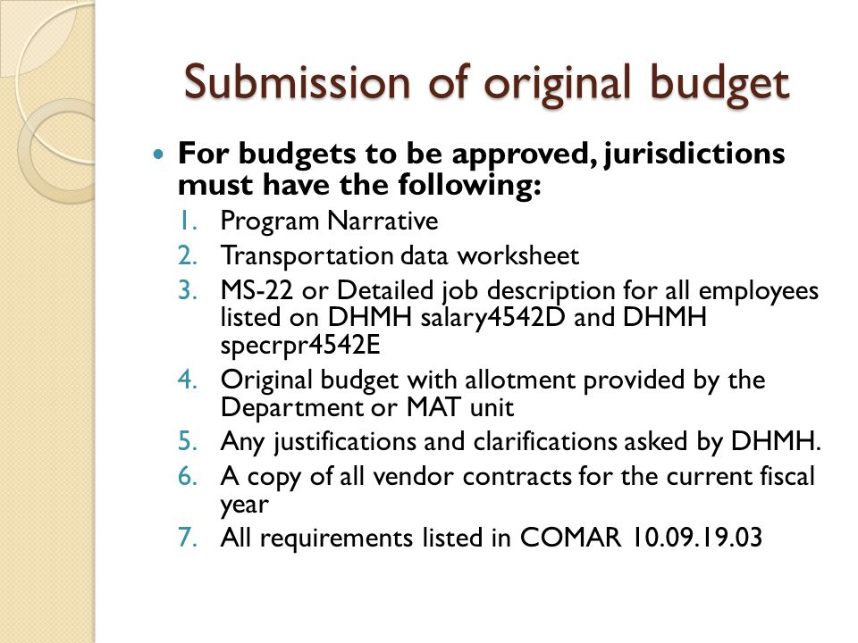Submission of original budget