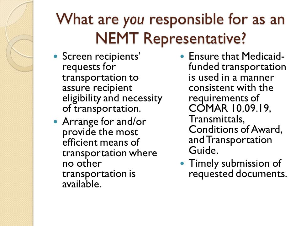 What are you responsible for as an NEMT Representative