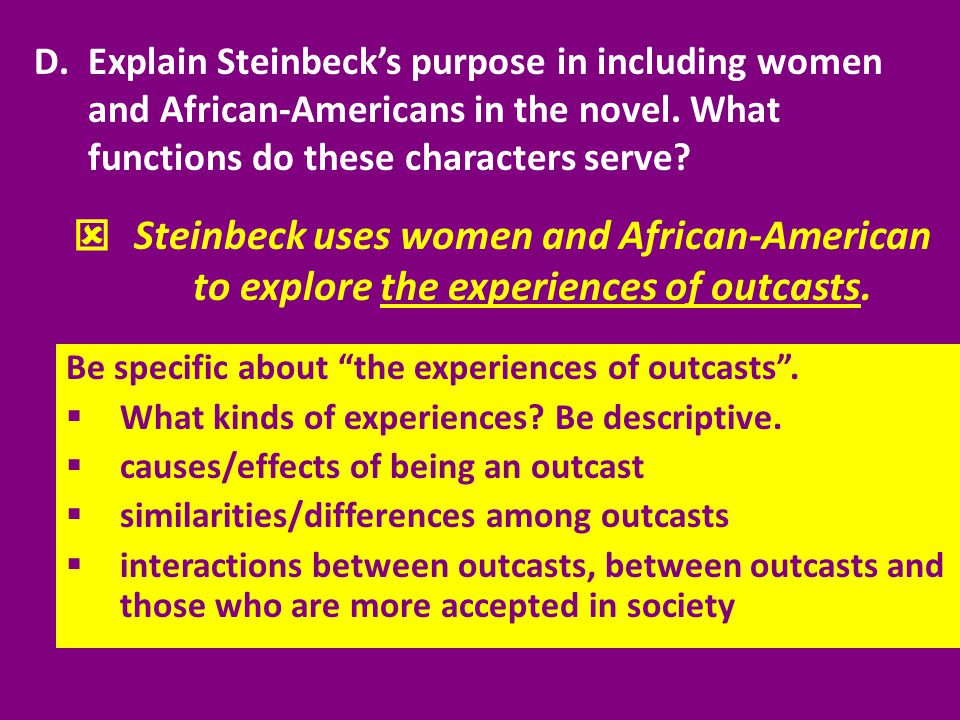 Explain Steinbeck's purpose in including women and African-Americans in the novel. What functions do these characters serve