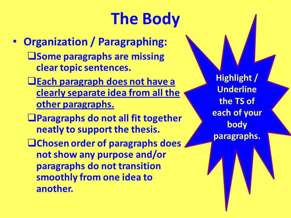 Highlight / Underline the TS of each of your body paragraphs.
