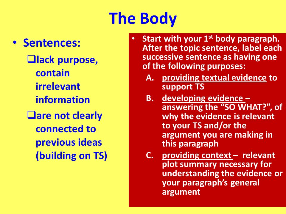 The Body Sentences: lack purpose, contain irrelevant information