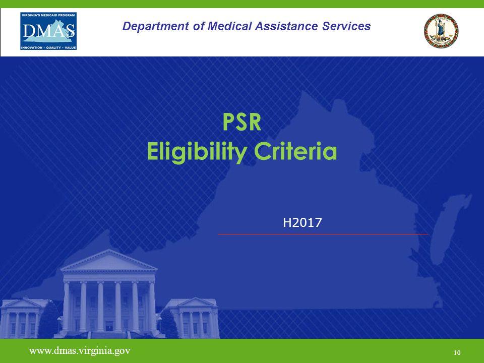 PSR Eligibility Criteria