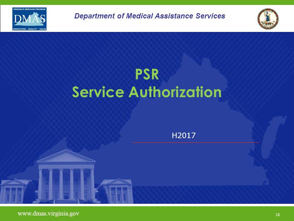 PSR Service Authorization