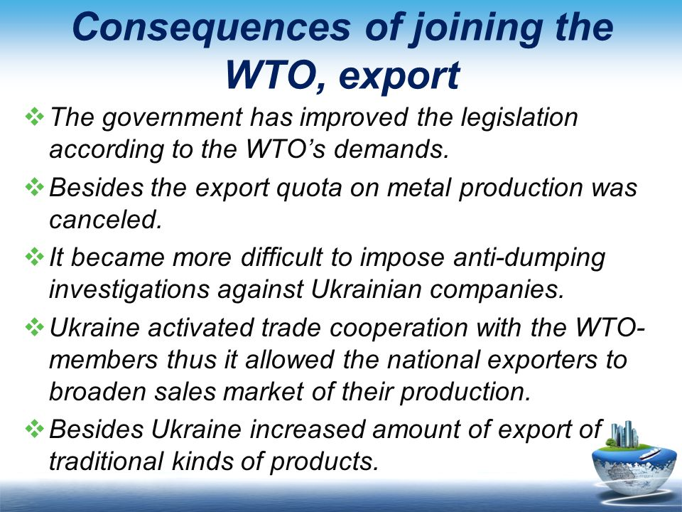 Consequences of joining the WTO, export