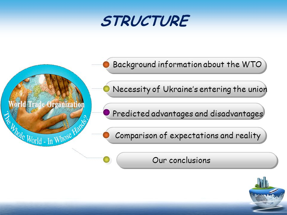 STRUCTURE Background information about the WTO