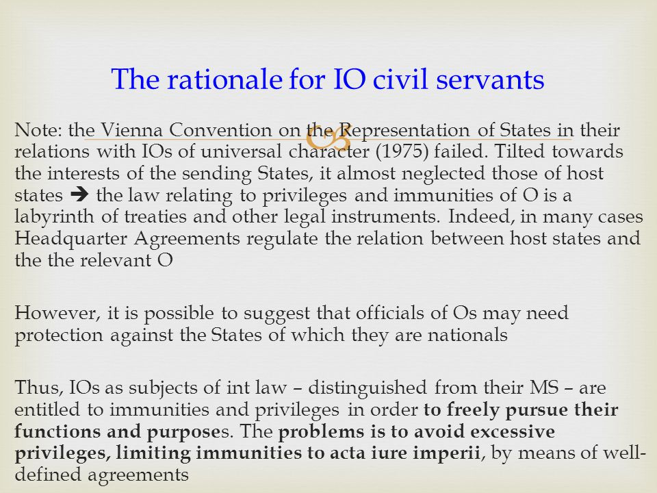 The rationale for IO civil servants