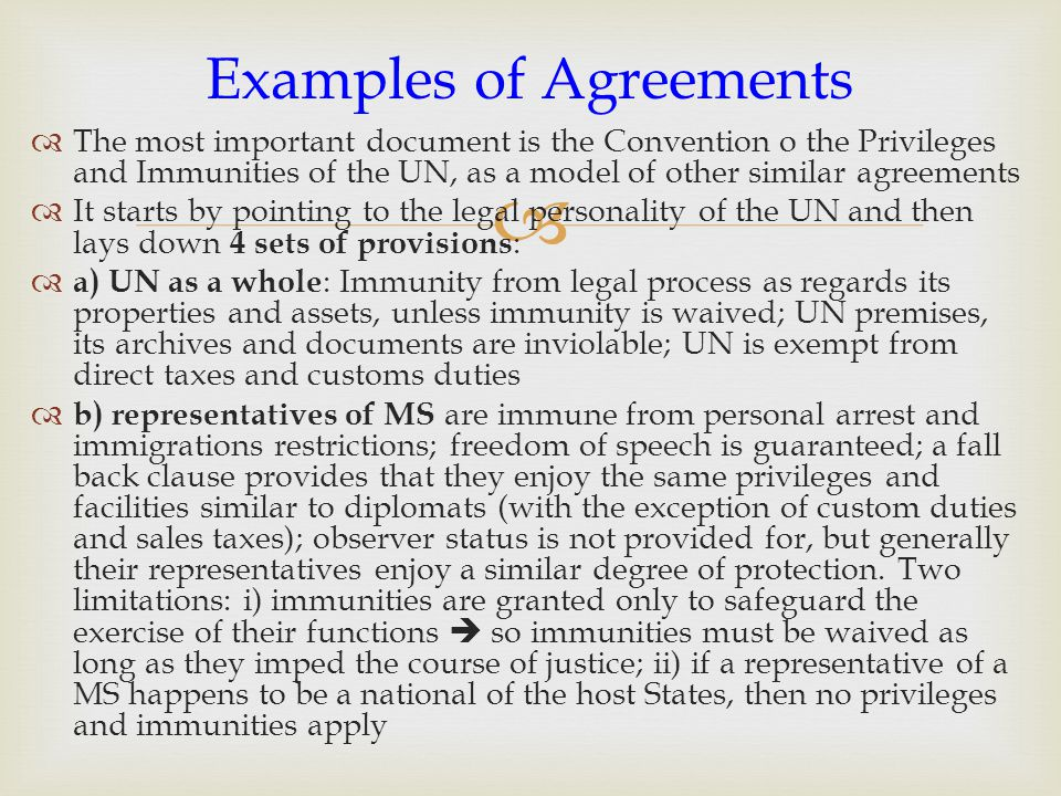Examples of Agreements