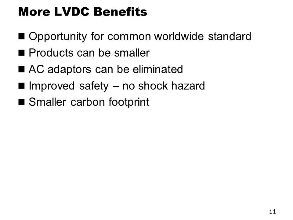 More LVDC Benefits Opportunity for common worldwide standard