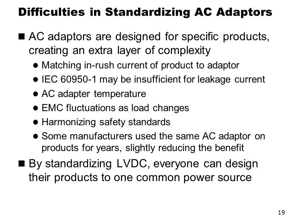 Difficulties in Standardizing AC Adaptors