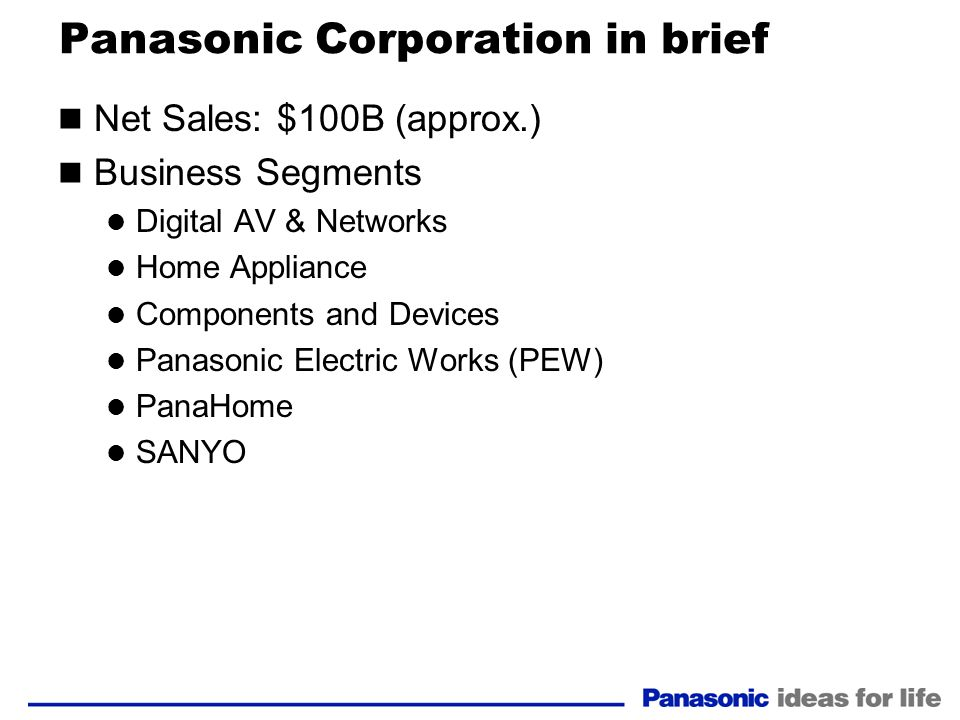 Panasonic Corporation in brief