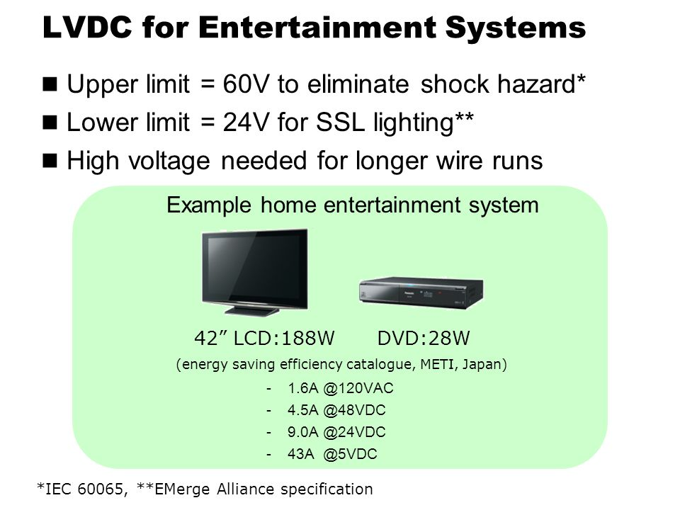 LVDC for Entertainment Systems