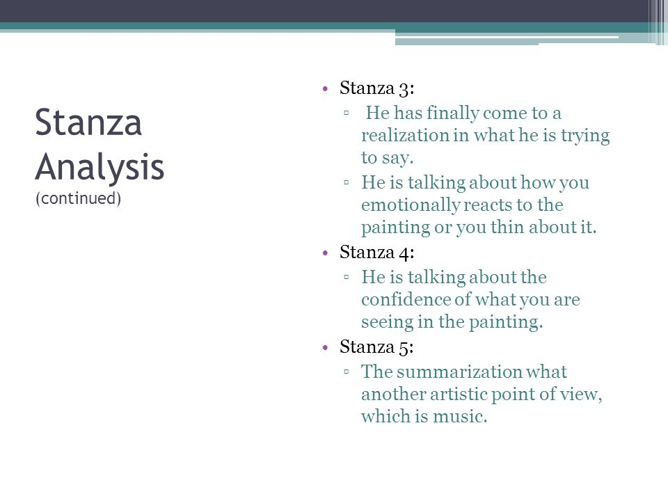 Stanza Analysis (continued)