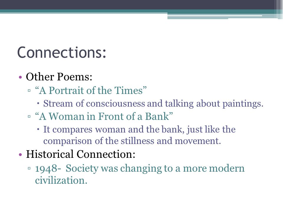 Connections: Other Poems: Historical Connection: