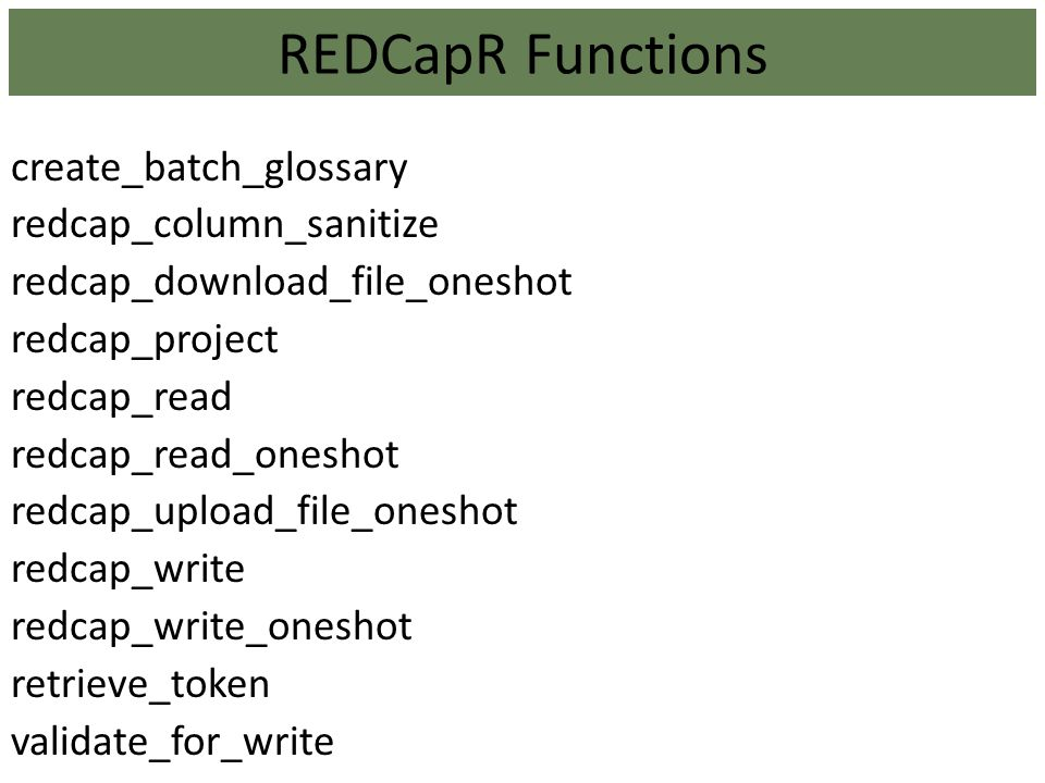 REDCapR Functions