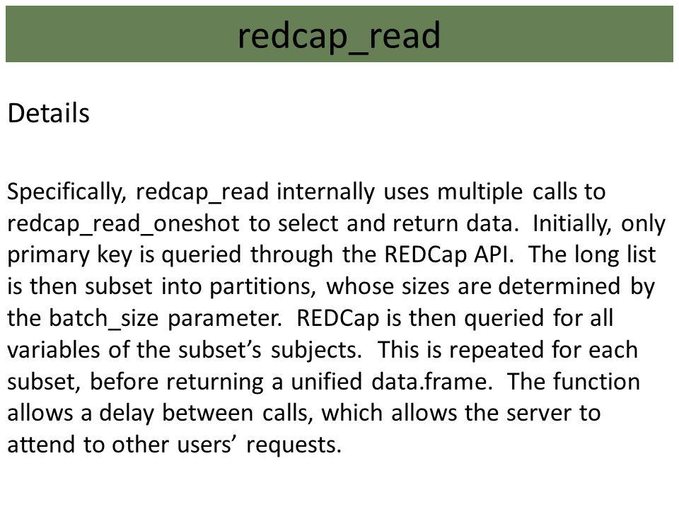 redcap_read Details.
