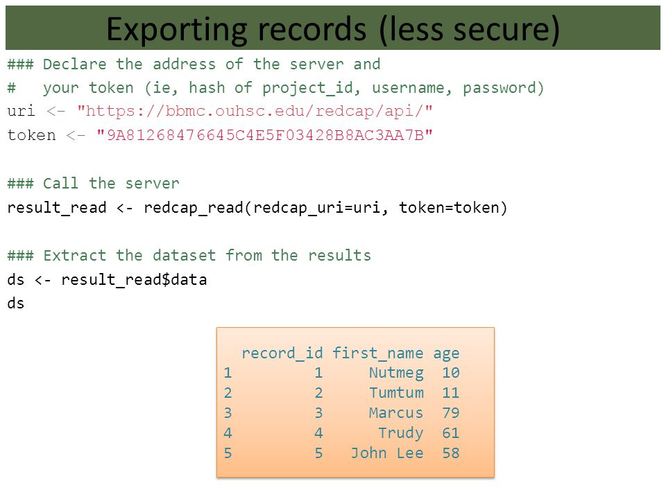 Exporting records (less secure)