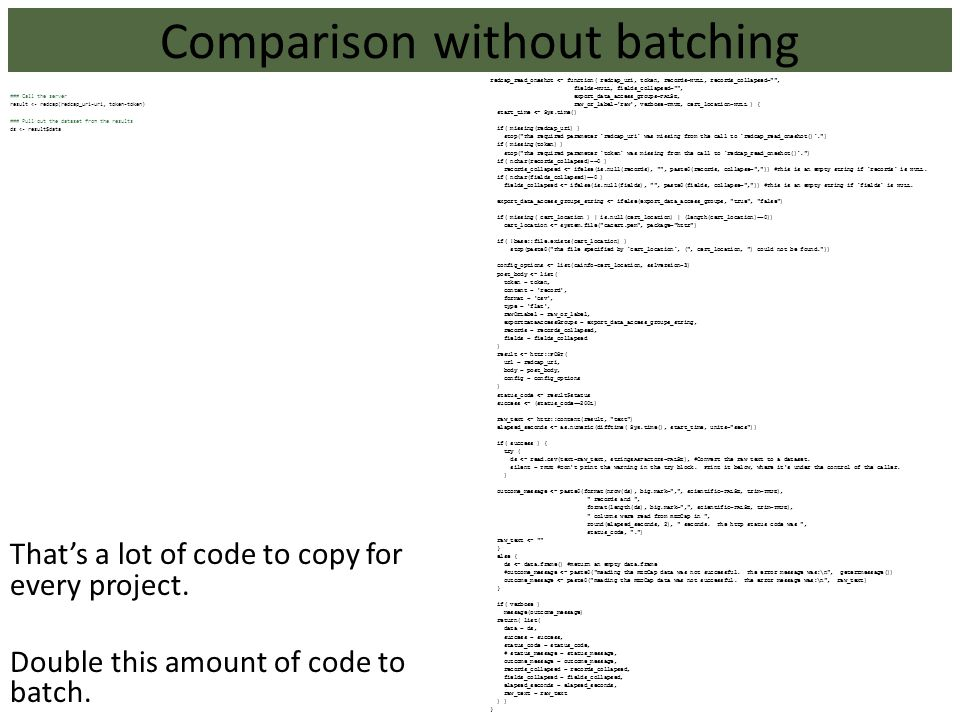Comparison without batching