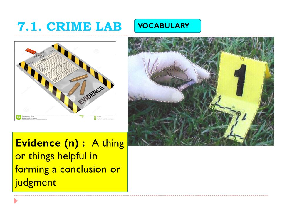 7.1. CRIME LAB VOCABULARY. Evidence (n) : A thing or things helpful in forming a conclusion or judgment.
