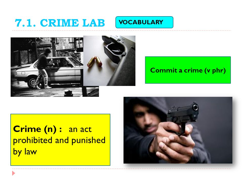 7.1. CRIME LAB Crime (n) : an act prohibited and punished by law
