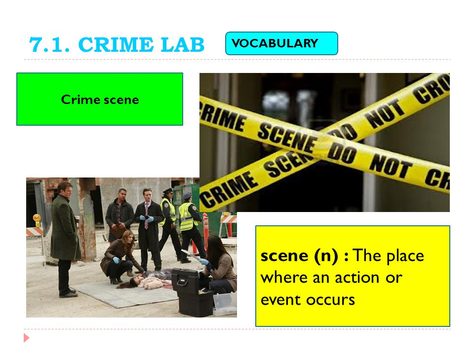 7.1. CRIME LAB scene (n) : The place where an action or event occurs