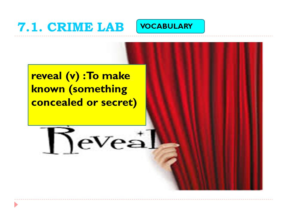 7.1. CRIME LAB VOCABULARY reveal (v) : To make known (something concealed or secret)
