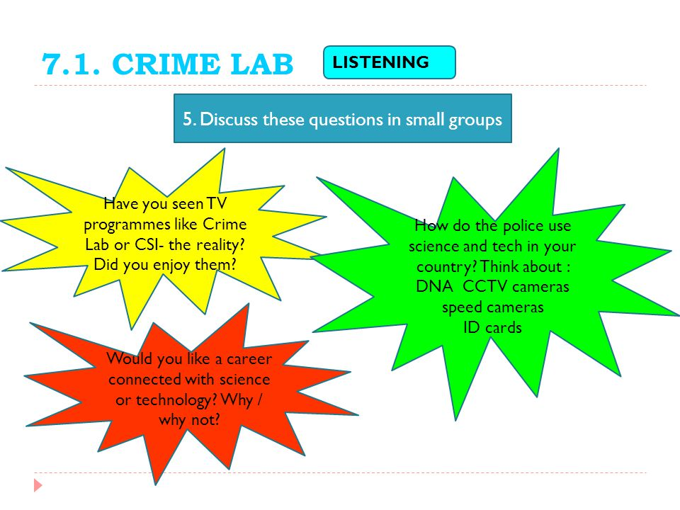7.1. CRIME LAB 5. Discuss these questions in small groups LISTENING