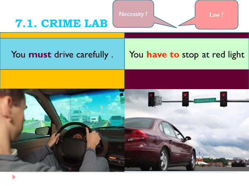 7.1. CRIME LAB You must drive carefully .