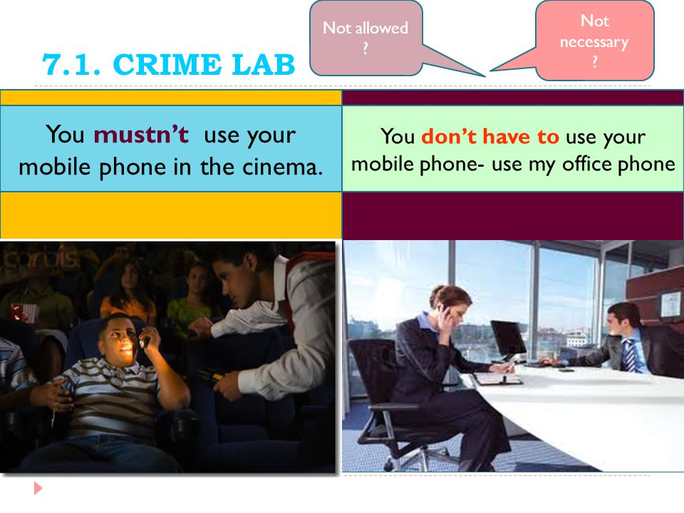 7.1. CRIME LAB You mustn't use your mobile phone in the cinema.