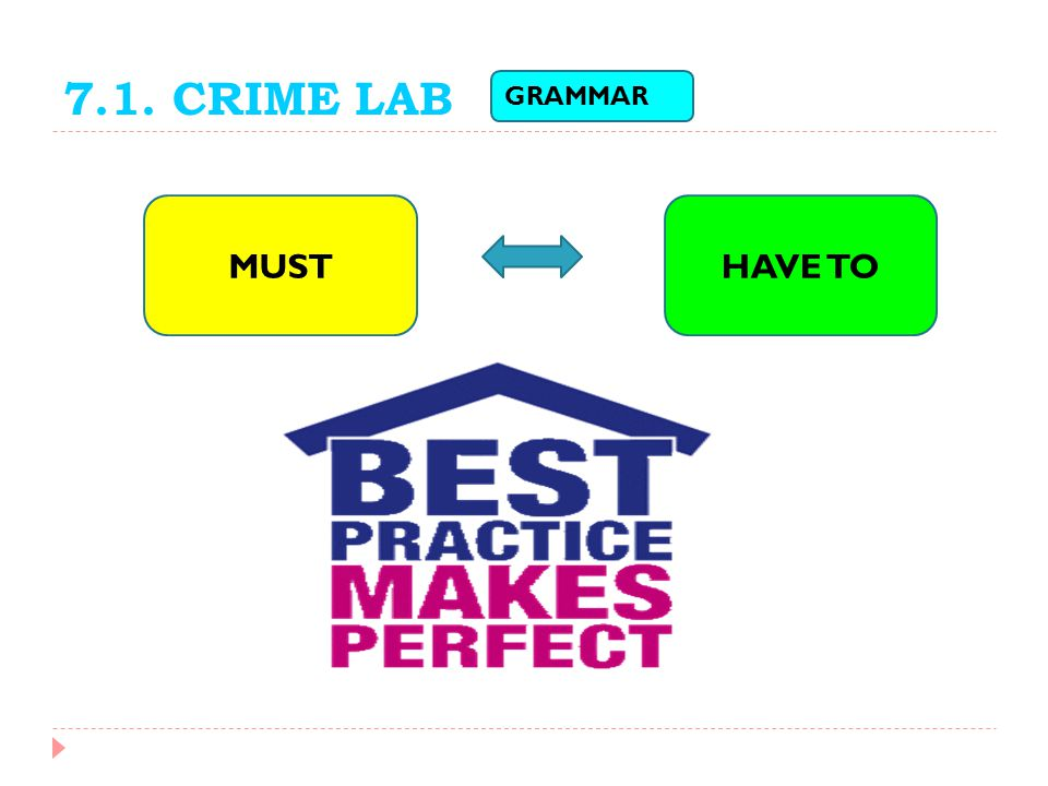7.1. CRIME LAB GRAMMAR MUST HAVE TO