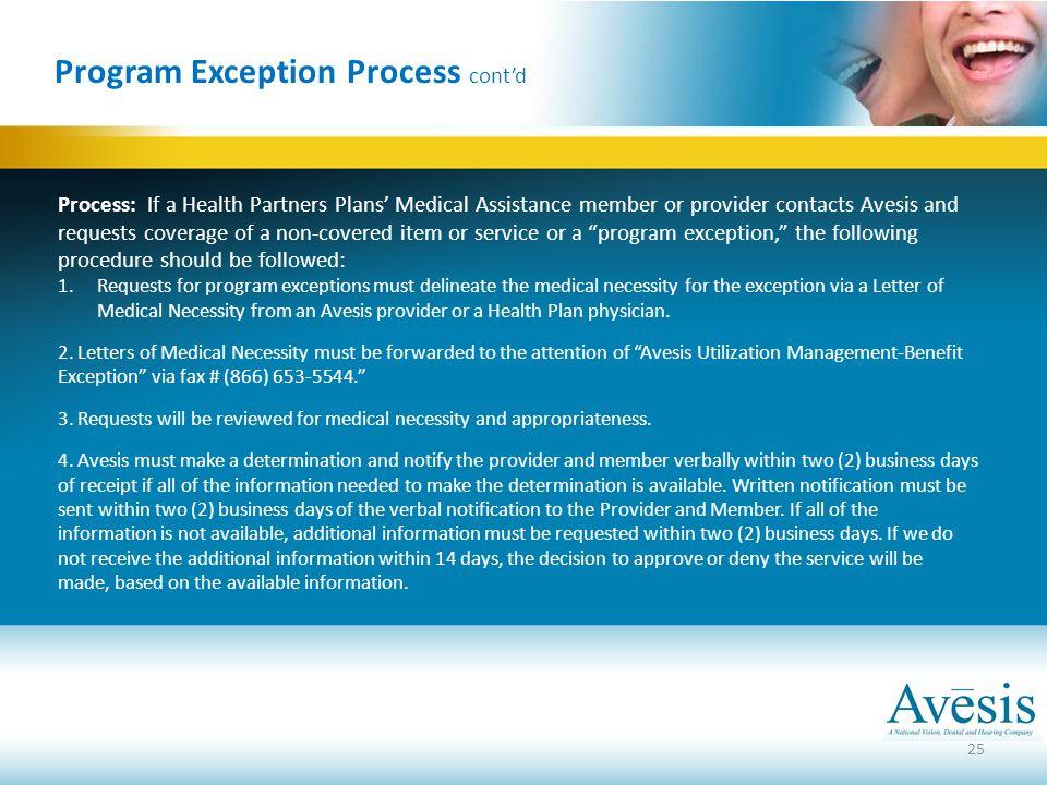 Program Exception Process cont'd