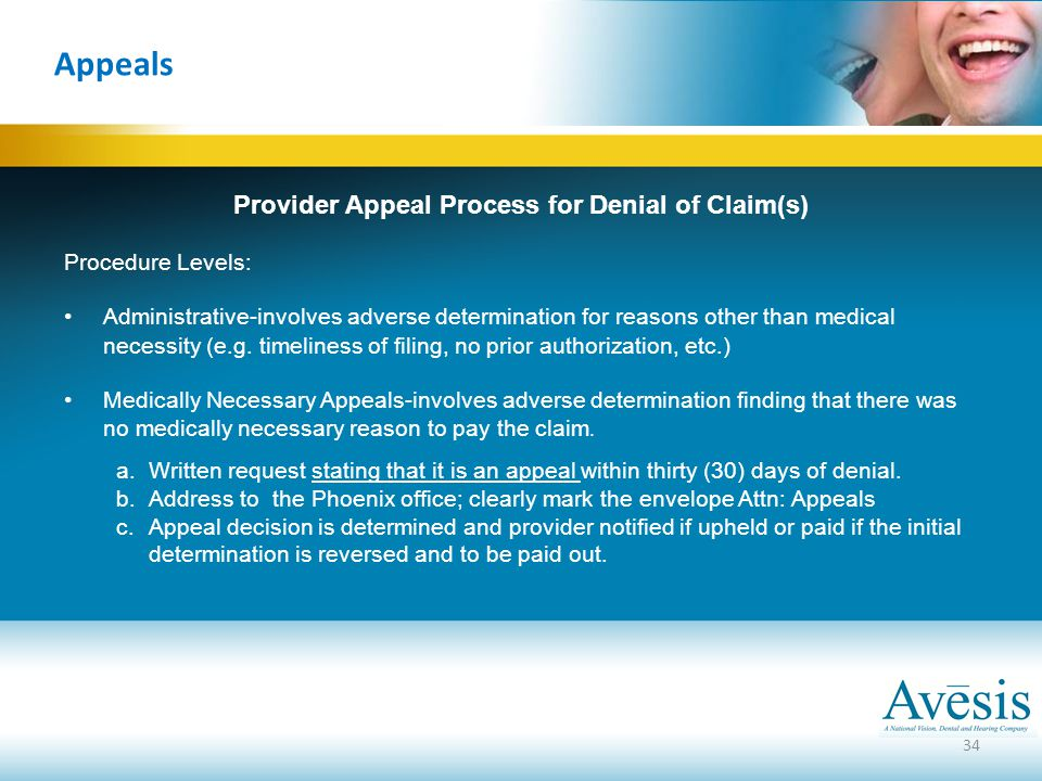 Provider Appeal Process for Denial of Claim(s)