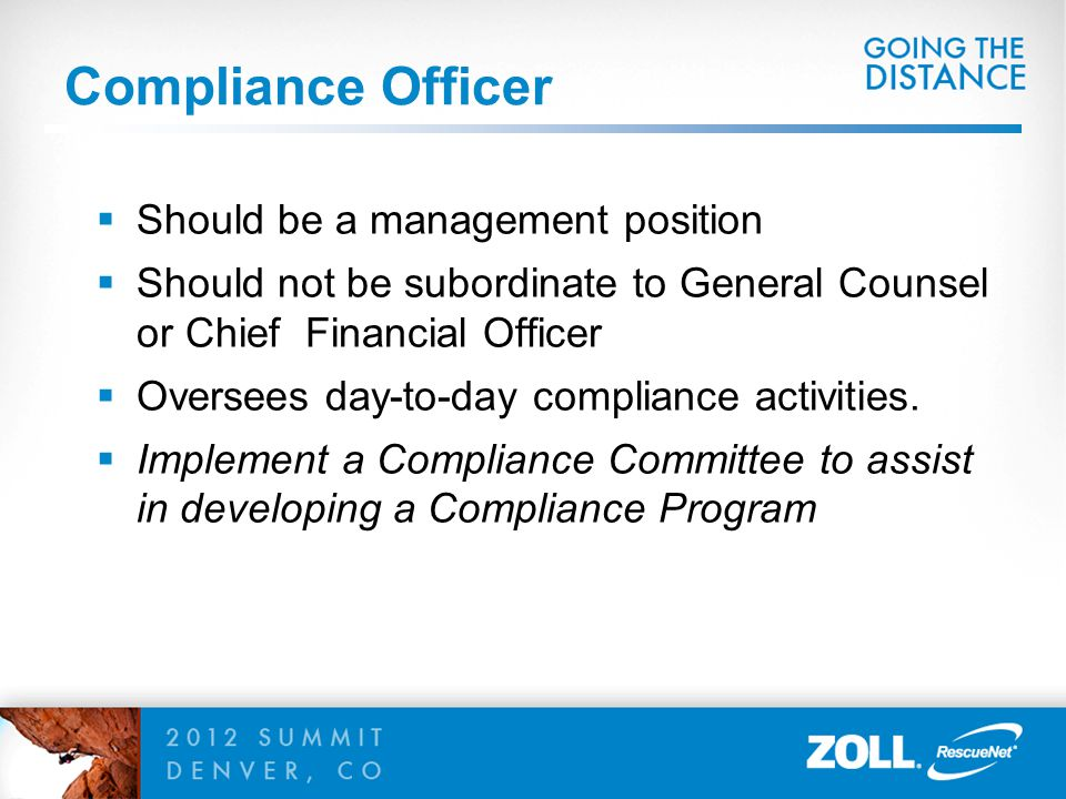 Compliance Officer Should be a management position