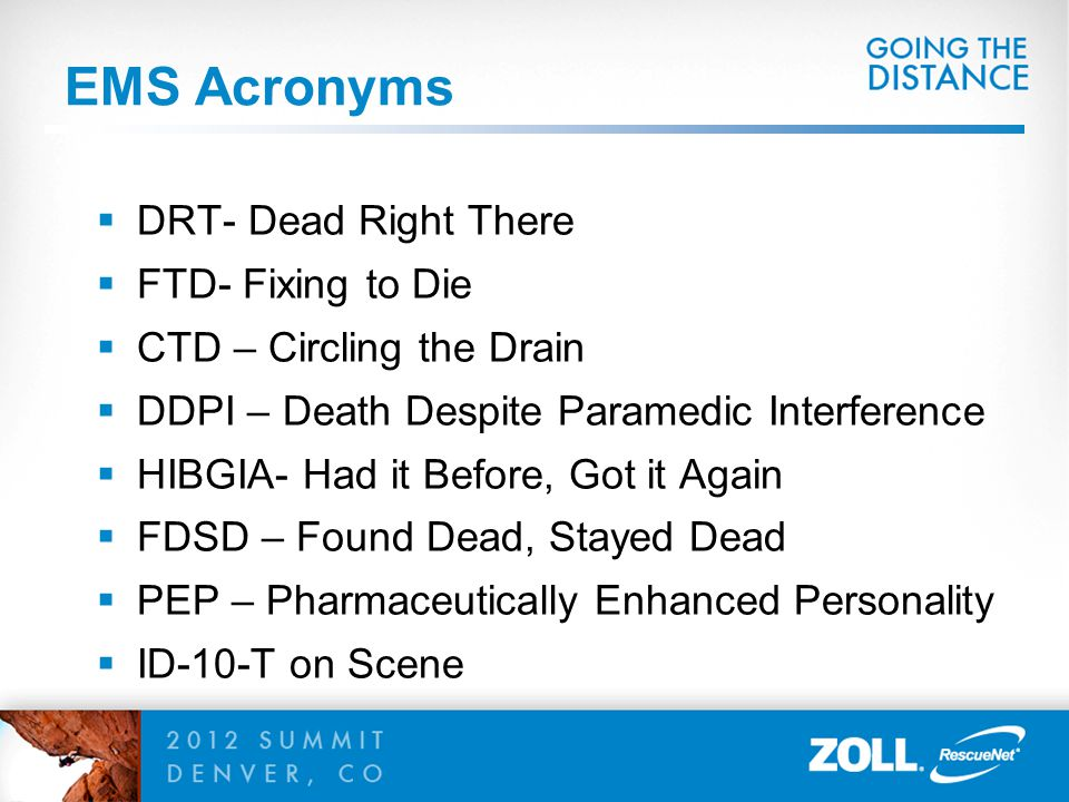 EMS Acronyms DRT- Dead Right There FTD- Fixing to Die