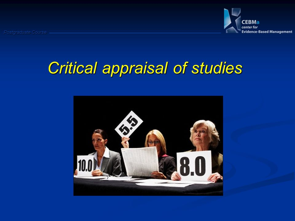 Critical appraisal of studies