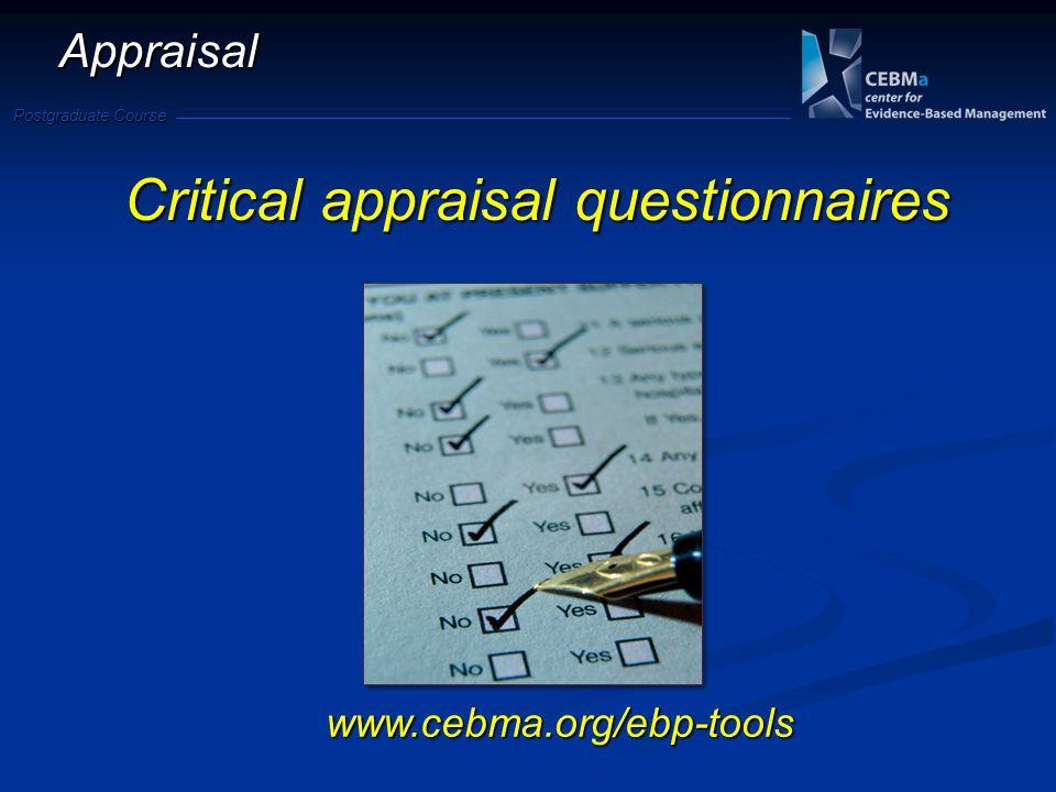 Critical appraisal questionnaires